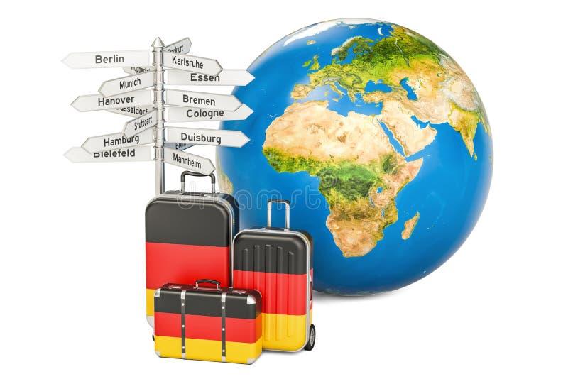 De reisconcept van Duitsland De koffers met Duitse vlag, voorzien van wegwijzers en royalty-vrije illustratie