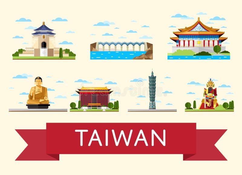 De reisconcept van Taiwan met beroemde aantrekkelijkheden royalty-vrije illustratie