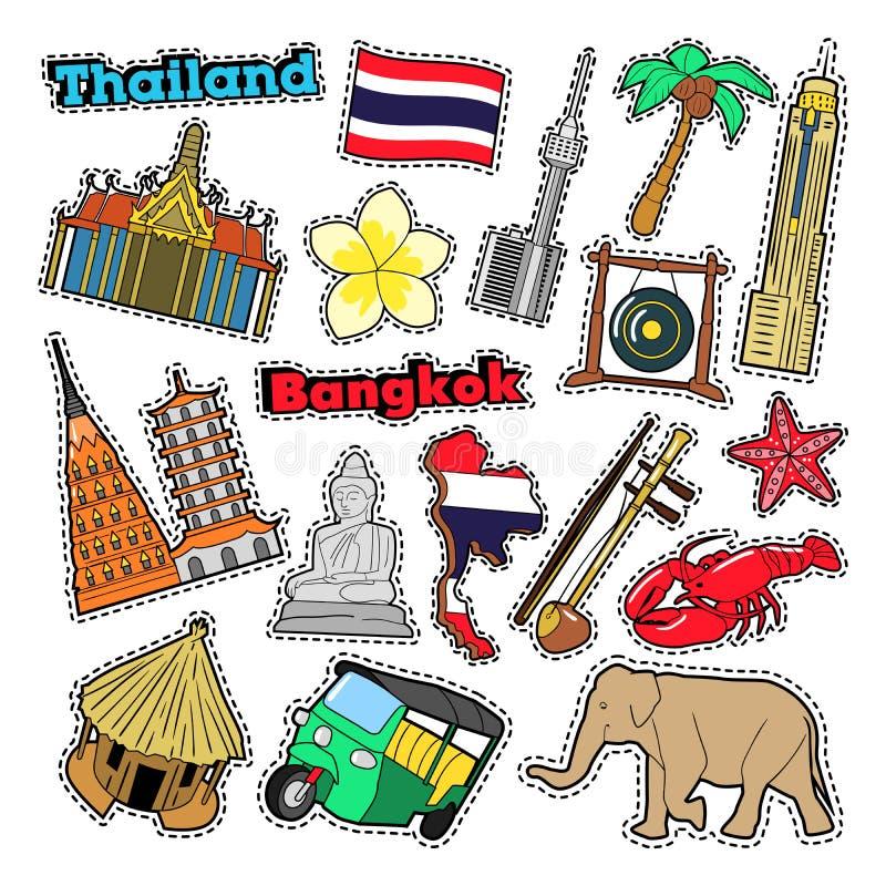 De Reiselementen van Thailand met Architectuur stock illustratie