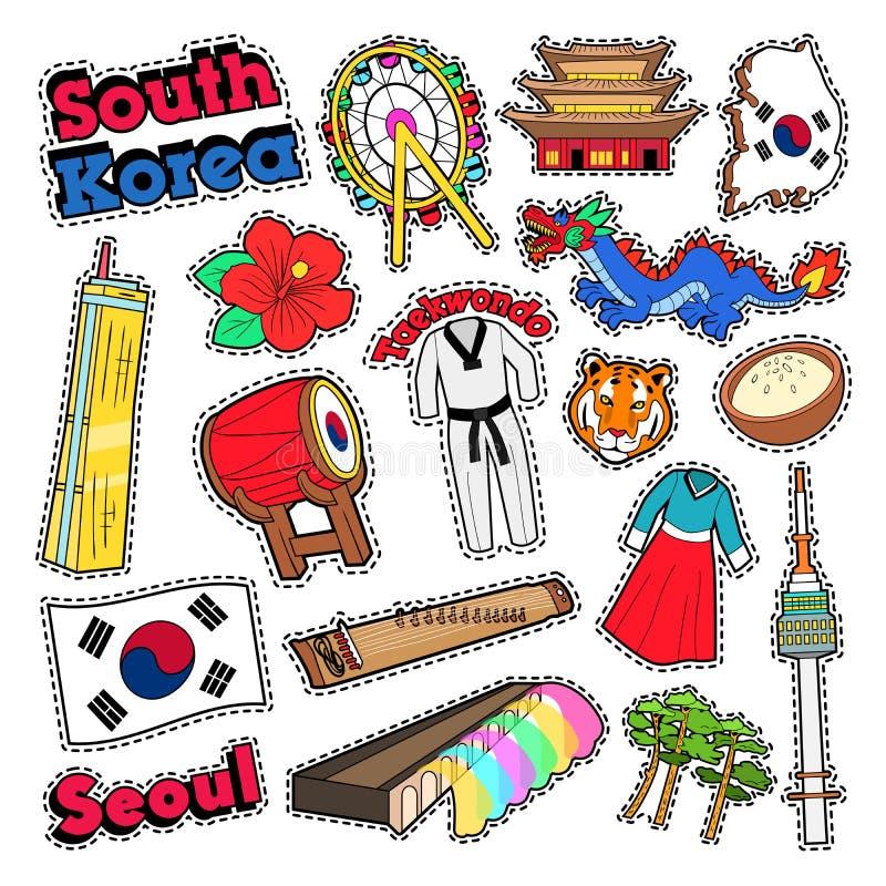 De Reiselementen van Zuid-Korea met Architectuur stock illustratie
