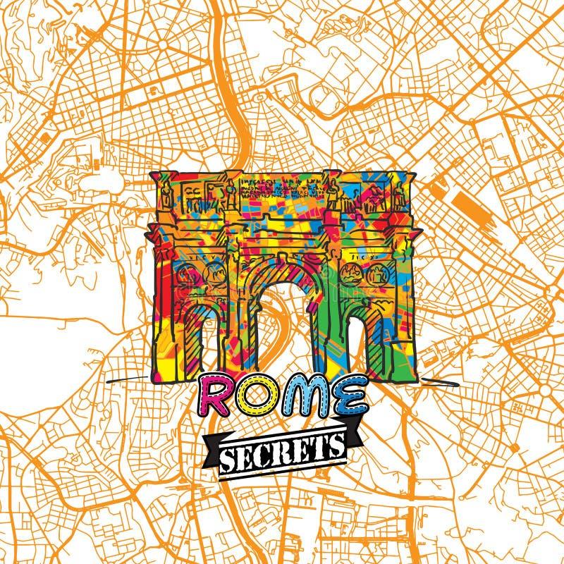 De Reisgeheimen Art Map van Rome vector illustratie