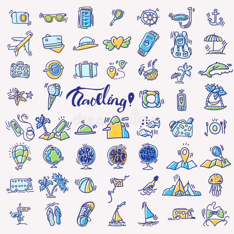 De reishand trekt pictogrammen Het pictogram voerde beeldverhaalinzameling over avontuur, openluchtactiviteiten, strand, de zomer stock illustratie