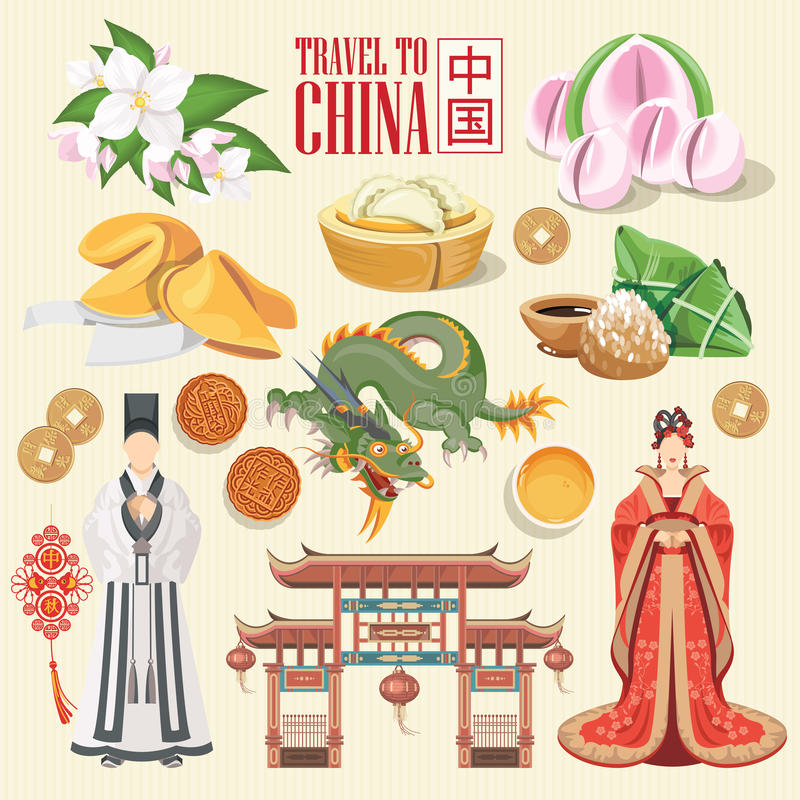 De reisillustratie van China affiche Chinees plaatst met architectuur, voedsel, kostuums stock illustratie