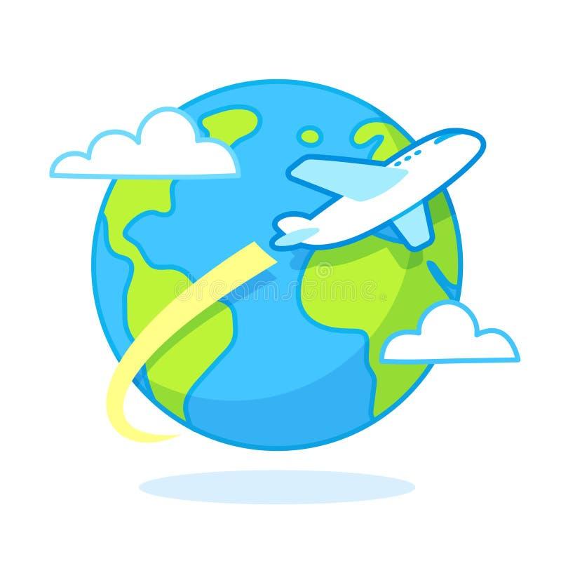 De reisillustratie van het beeldverhaalvliegtuig vector illustratie