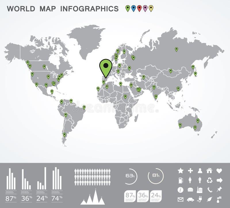 De reisKaart van de wereld en de Grafiek van de Informatie. vector illustratie