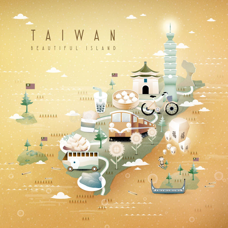 De reiskaart van Taiwan stock illustratie