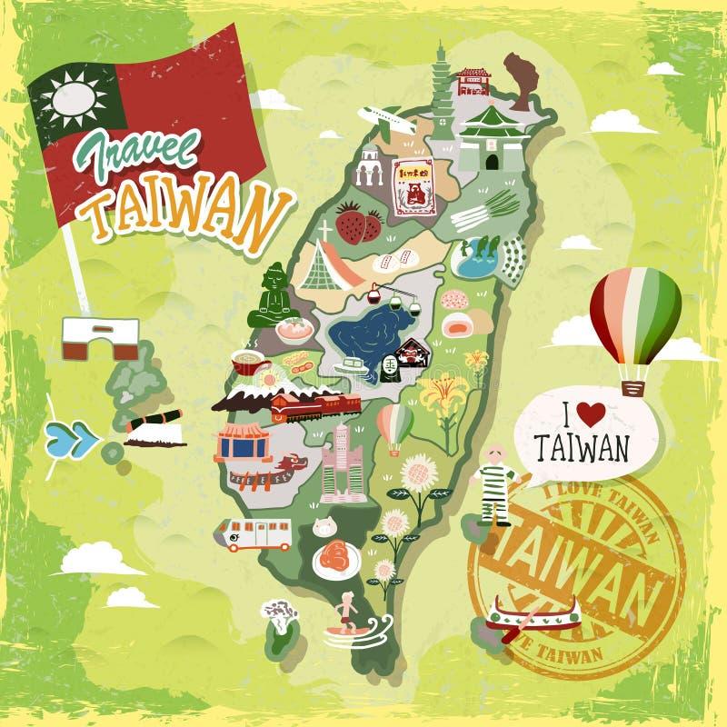 De reiskaart van Taiwan vector illustratie