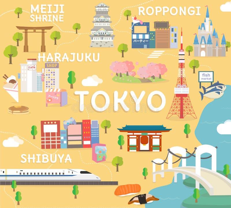 De reiskaart van Tokyo in vlakke illustratie stock illustratie