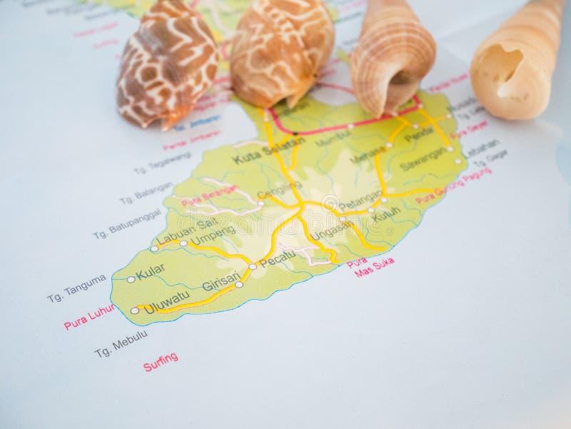 De de Reiskaarten van Bali met populaire bestemming is Tuban-Strand, Kuta-Strand, Legian-Strand, Jimbaran-Strand royalty-vrije stock foto's