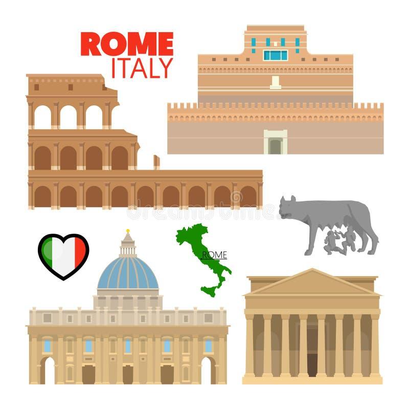 De Reiskrabbel van Rome Italië met Architectuur royalty-vrije illustratie