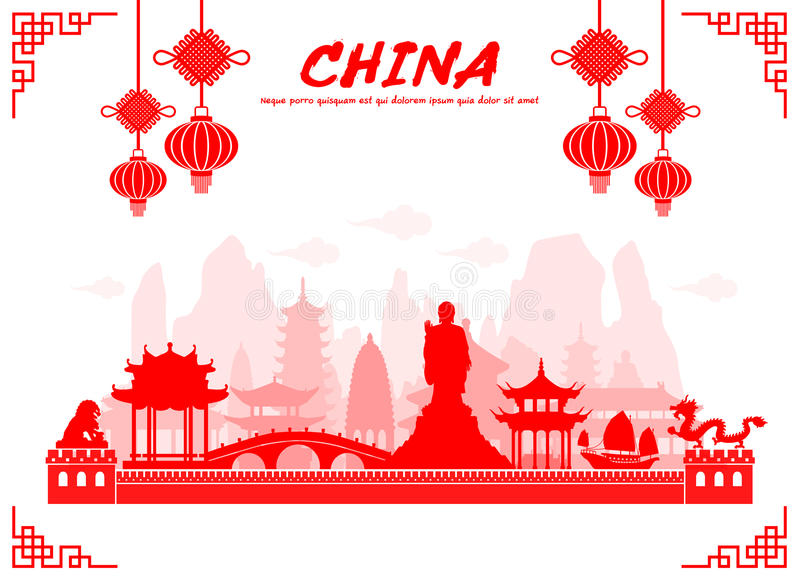 De Reisoriëntatiepunten van China stock illustratie