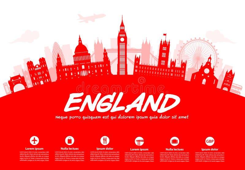 De Reisoriëntatiepunten van Engeland stock illustratie
