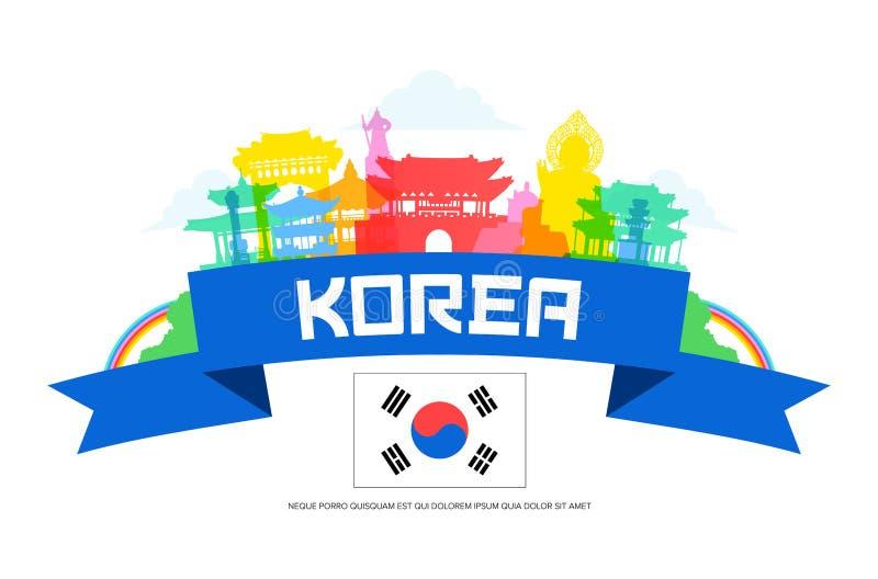 De Reisoriëntatiepunten van Korea royalty-vrije illustratie
