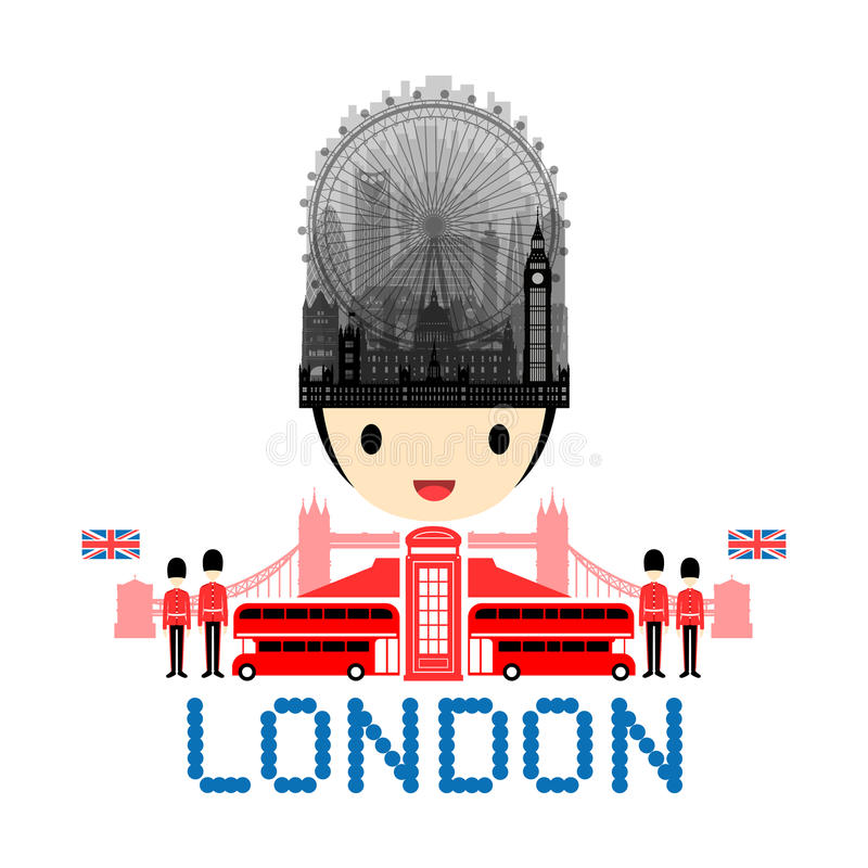 De Reisoriëntatiepunten van Londen, Engeland royalty-vrije illustratie