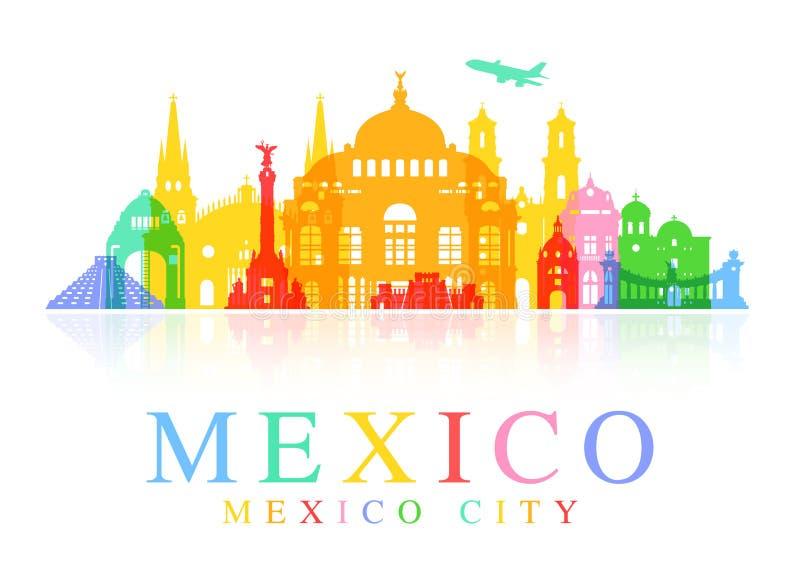 De Reisoriëntatiepunten van Mexico royalty-vrije illustratie