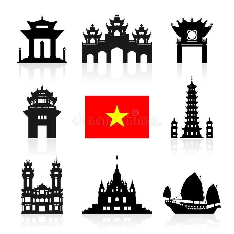 De Reisoriëntatiepunten van Vietnam vector illustratie