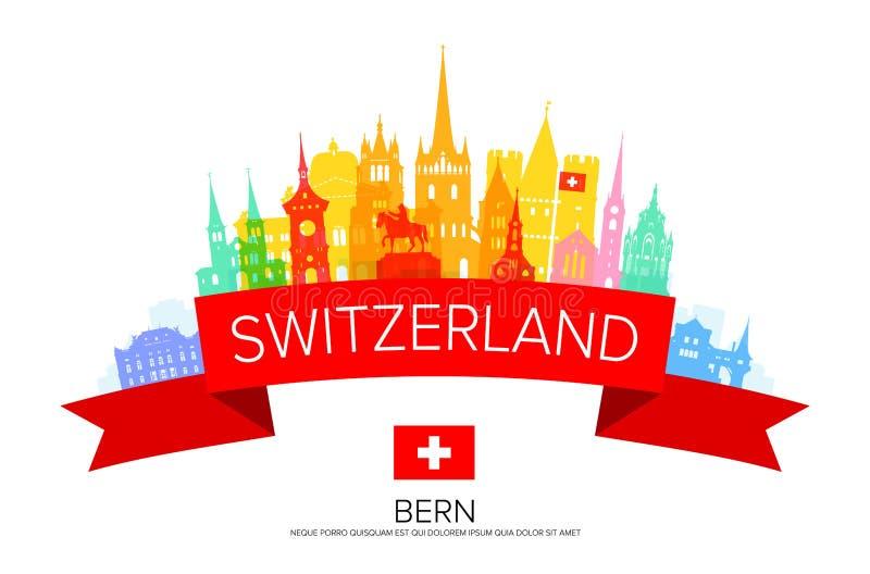 De Reisoriëntatiepunten van Zwitserland stock illustratie