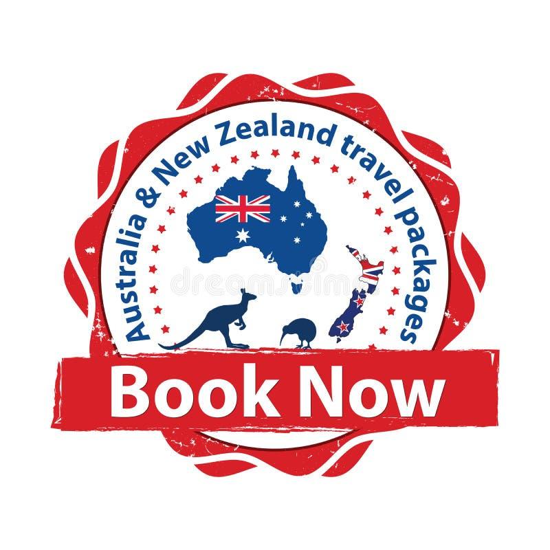 De reispakketten van Australië en van Nieuw Zeeland - voor het drukken geschikte sticker stock illustratie