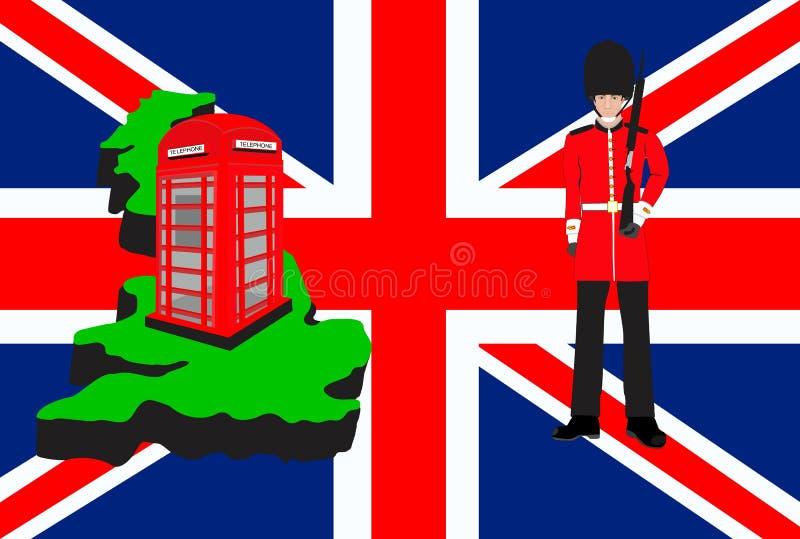 De reissymbolen en ontwerp van Groot-Brittannië stock illustratie