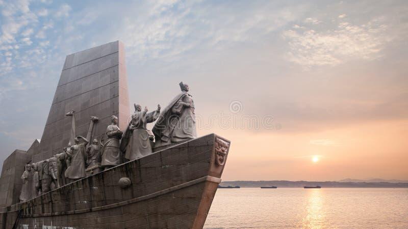 De reizen van Zheng He in het Zuidenoverzees zover als Afrika stock fotografie