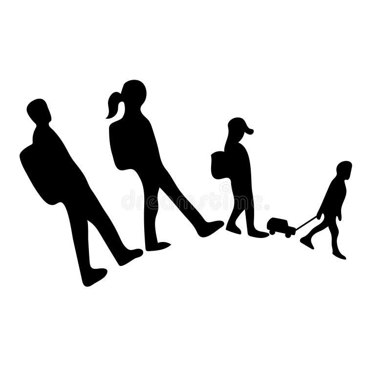 De reizende familie silhouetteert pictogram Man, vrouw, jonge geitjes Eenvoudig Vlak zwart-wit pictogram royalty-vrije illustratie