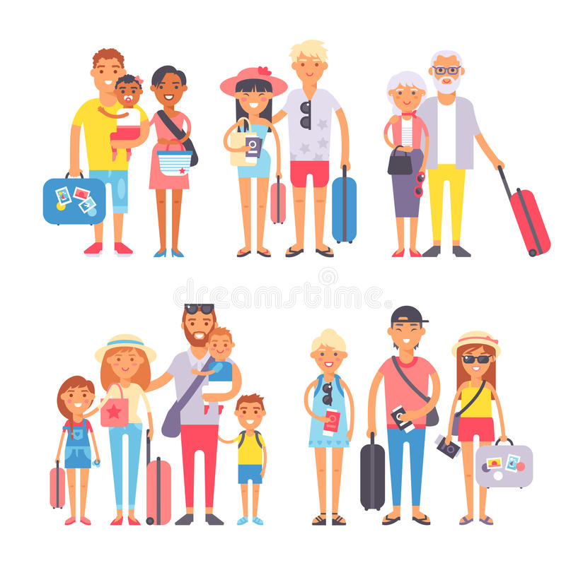 De reizende mensen van de familiegroep op de vlakke vectorillustratie van het vakantie samen karakter royalty-vrije illustratie
