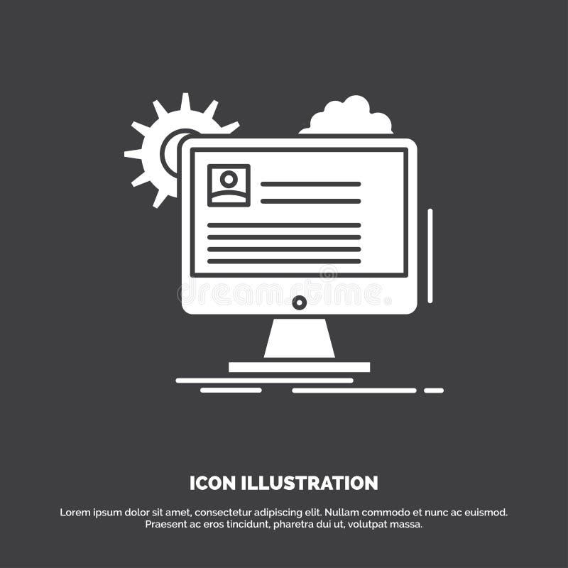 De rekening, profiel, rapport, geeft, werkt Pictogram uit bij glyph vectorsymbool voor UI en UX, website of mobiele toepassing vector illustratie