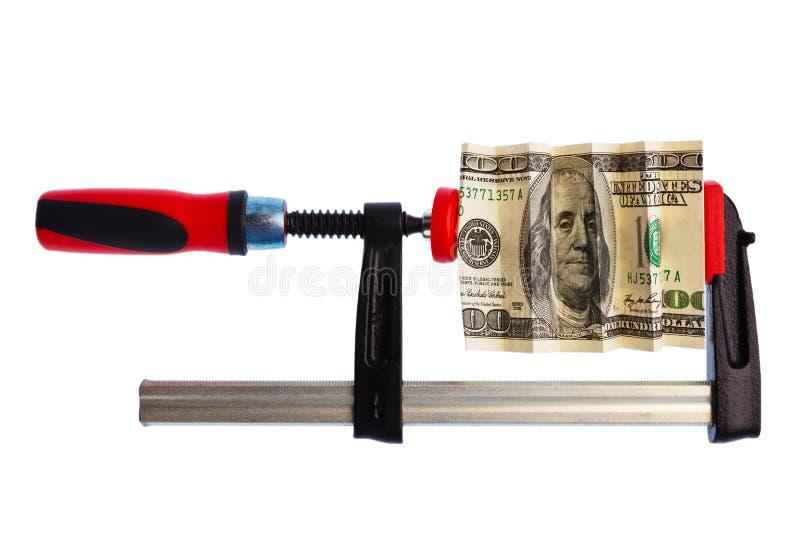 De Rekening van de dollar die in Klem wordt geknepen stock foto