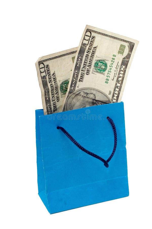 De rekening van de dollar op een het Winkelen zak stock afbeeldingen