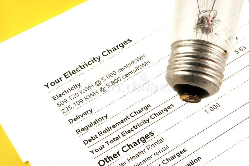 De rekening van de elektriciteit stock afbeeldingen