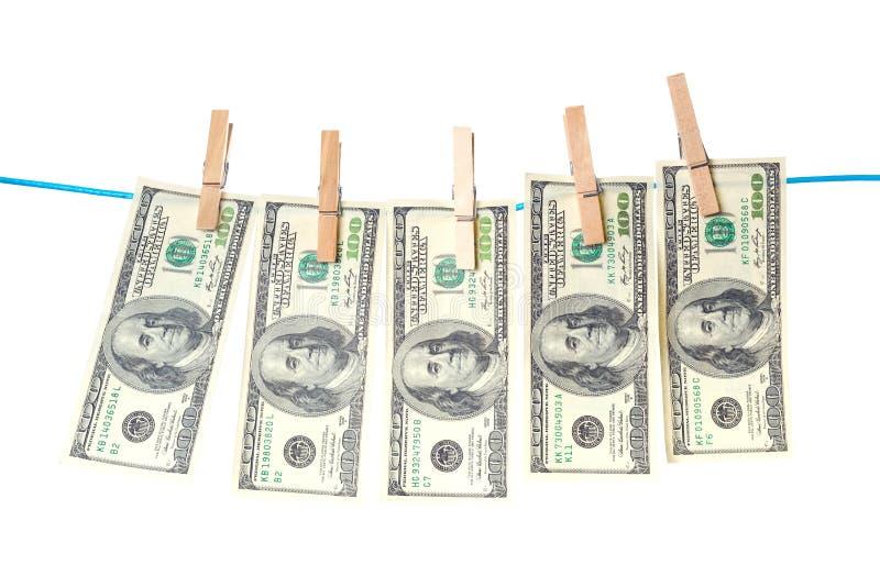 De Rekeningen Die Van De Dollar Op Een Kabel Drogen Stock Afbeeldingen