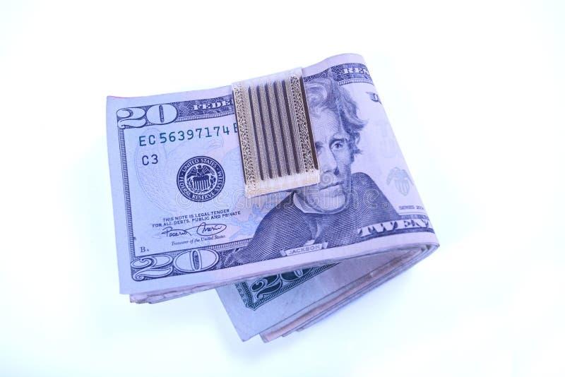 De rekeningen van de dollar in geldklem royalty-vrije stock afbeeldingen