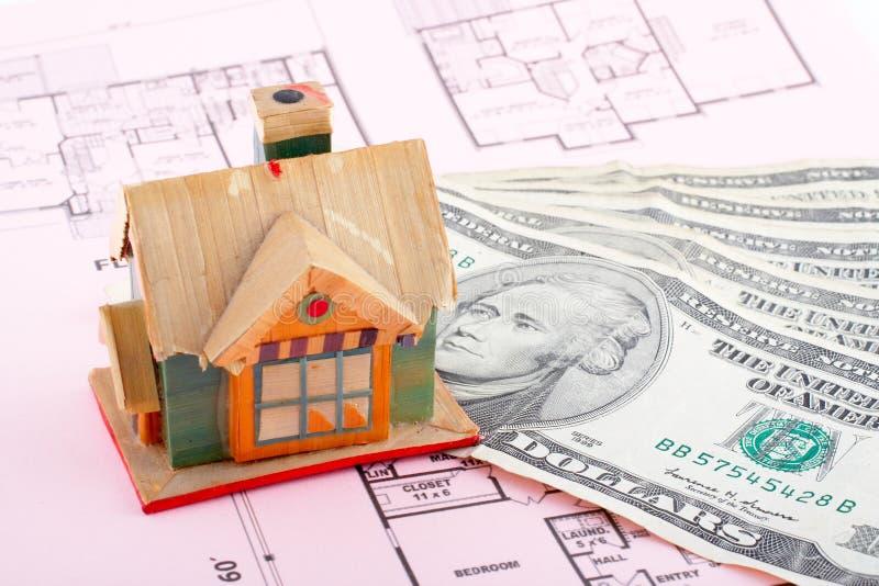 De rekeningen van het huis en van de dollar royalty-vrije stock afbeeldingen