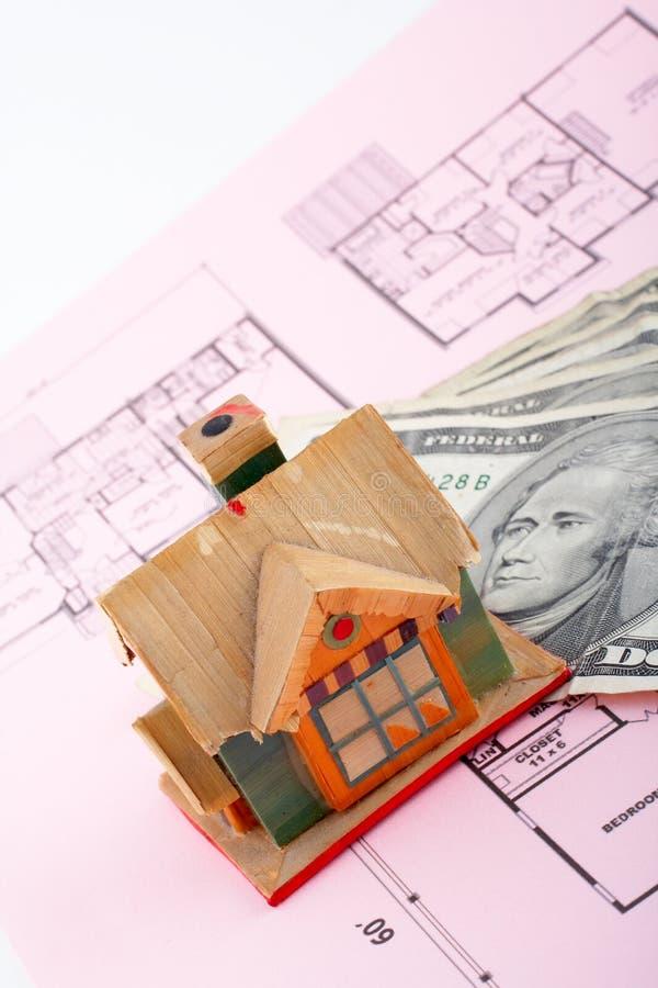 De rekeningen van het huis en van de dollar royalty-vrije stock foto