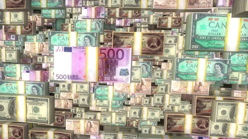 De rekeningenachtergrond van de wereldmunt, globaal financiën en bankwezen, wisselkoers stock afbeeldingen