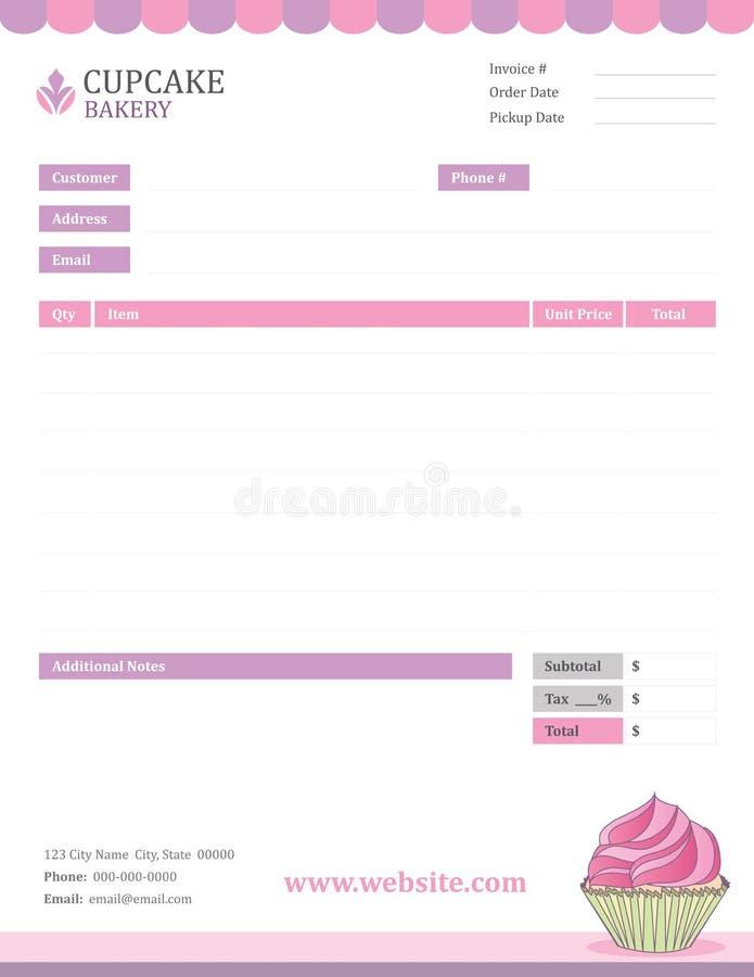 De Rekeningsmalplaatje van de Cupcakebakkerij vector illustratie