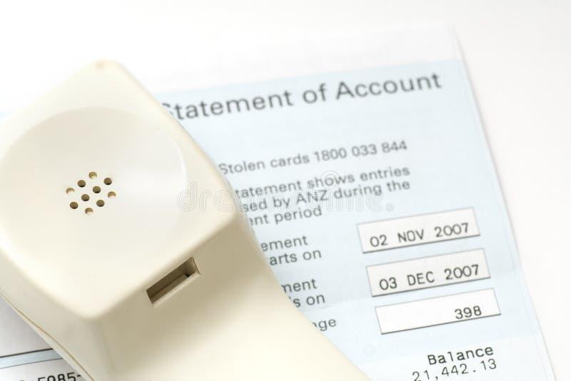 De rekeningsverklaring van de telefoon van rekeningen royalty-vrije stock afbeelding
