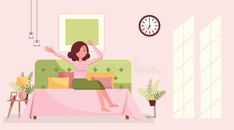 De rekgeeuw van het goedemorgenmeisje in bed Slaperige jonge vrouw die in bed en stretchin geeuwen Het binnenland van de ochtends stock illustratie