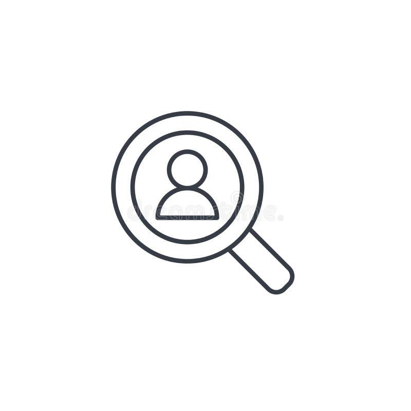 De rekrutering, hervat onderzoek, baan, die het pictogram van de personeels dun lijn selecteren Lineair vectorsymbool vector illustratie