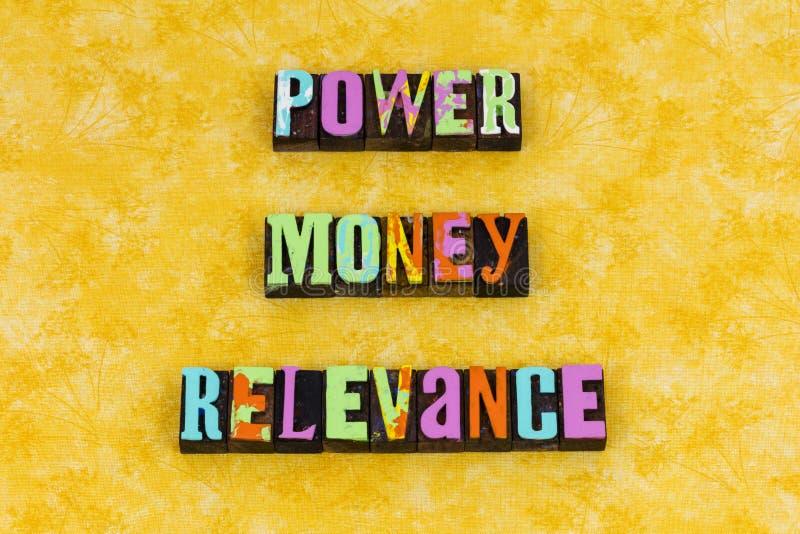 De relevantie financiële politiek van het machtsgeld stock fotografie