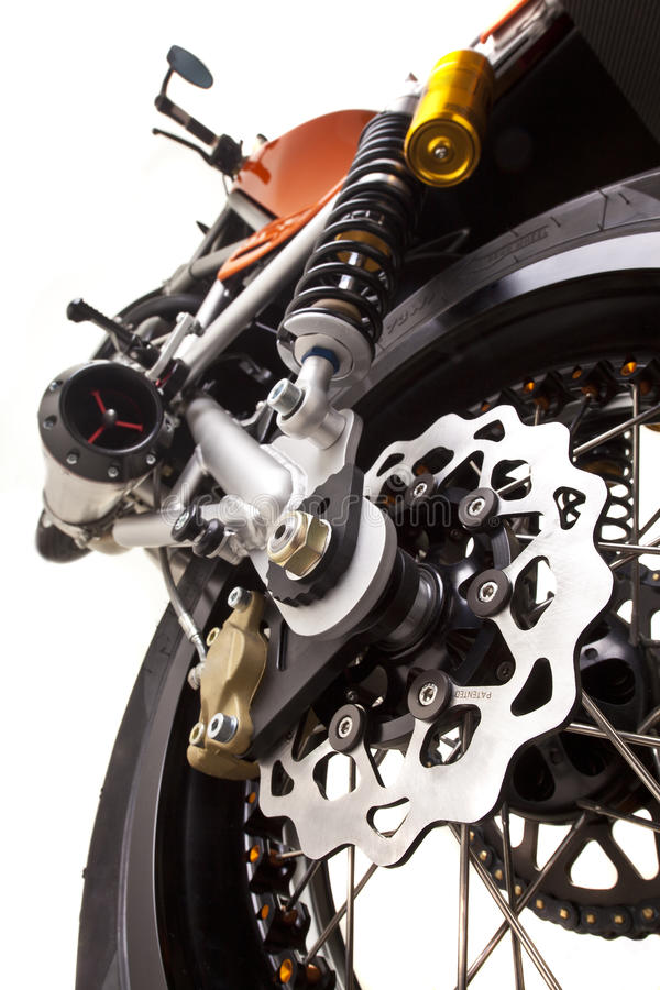 De rem dichte omhooggaand van de motorfiets stock afbeeldingen