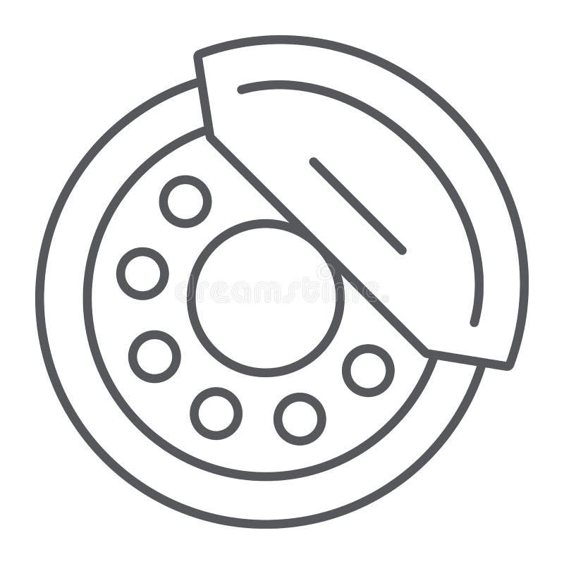 De rem vult dun lijnpictogram, auto en deel op, remschoenteken, vectorafbeeldingen, een lineair patroon op een witte achtergrond stock illustratie