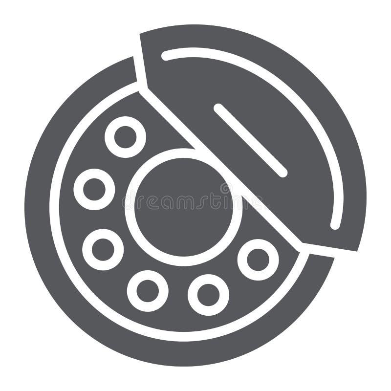 De rem vult glyph pictogram, auto en deel op, remschoenteken, vectorafbeeldingen, een stevig patroon op een witte achtergrond vector illustratie