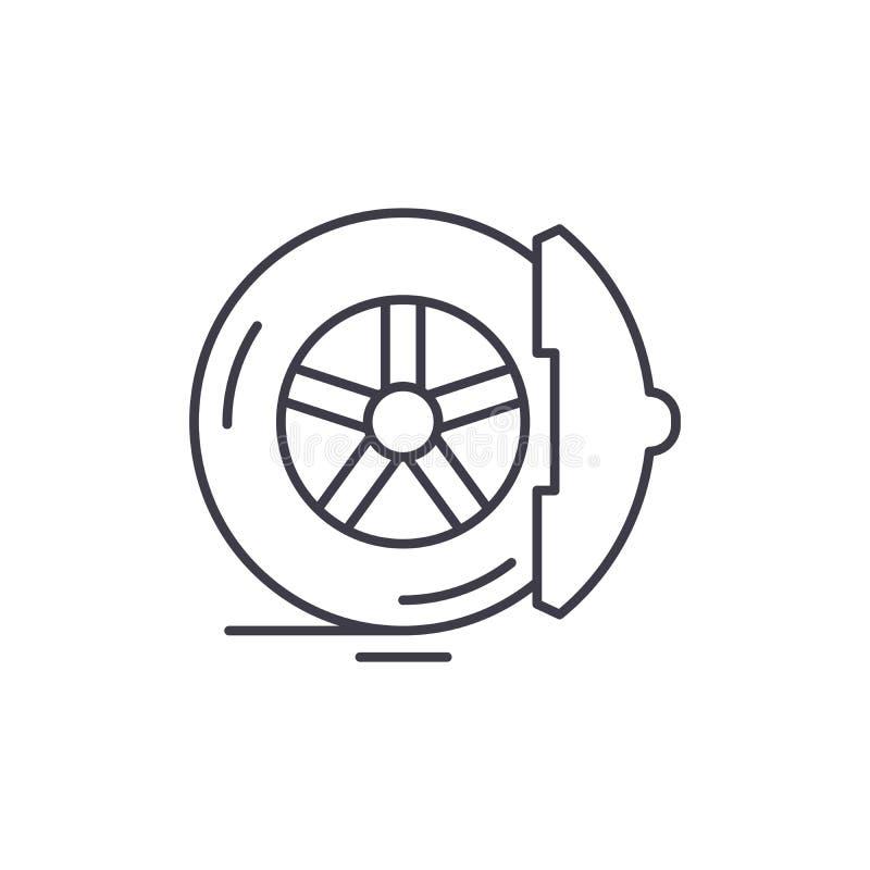 De rem vult het concept van het lijnpictogram op De rem vult vector lineaire illustratie, symbool, teken op stock illustratie