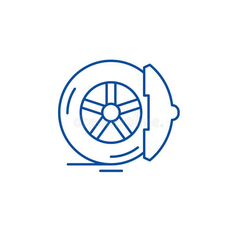 De rem vult het concept van het lijnpictogram op De rem vult vlak vectorsymbool, teken, overzichtsillustratie op vector illustratie