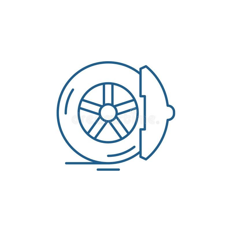 De rem vult het concept van het lijnpictogram op De rem vult vlak vectorsymbool, teken, overzichtsillustratie op royalty-vrije illustratie