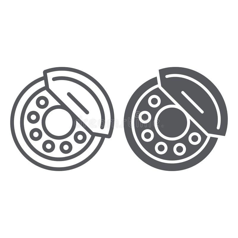 De rem vult lijn en glyph pictogram, auto en deel op, remschoenteken, vectorafbeeldingen, een lineair patroon op een witte achter royalty-vrije illustratie