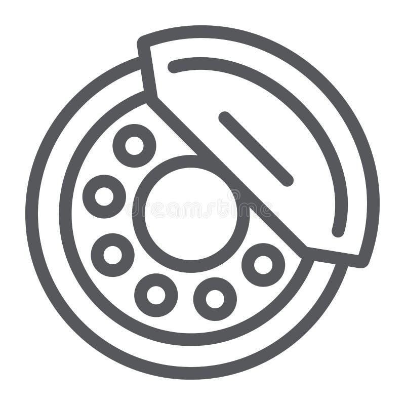 De rem vult lijnpictogram, auto en deel op, remschoenteken, vectorafbeeldingen, een lineair patroon op een witte achtergrond stock illustratie