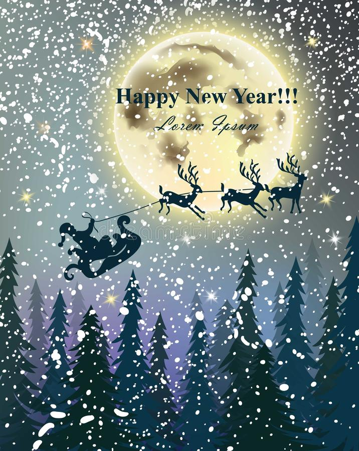 De Rendieren die van de de winterkaart over volle maan vliegen Sneeuwnacht Gelukkige vakantievector als achtergrond vector illustratie