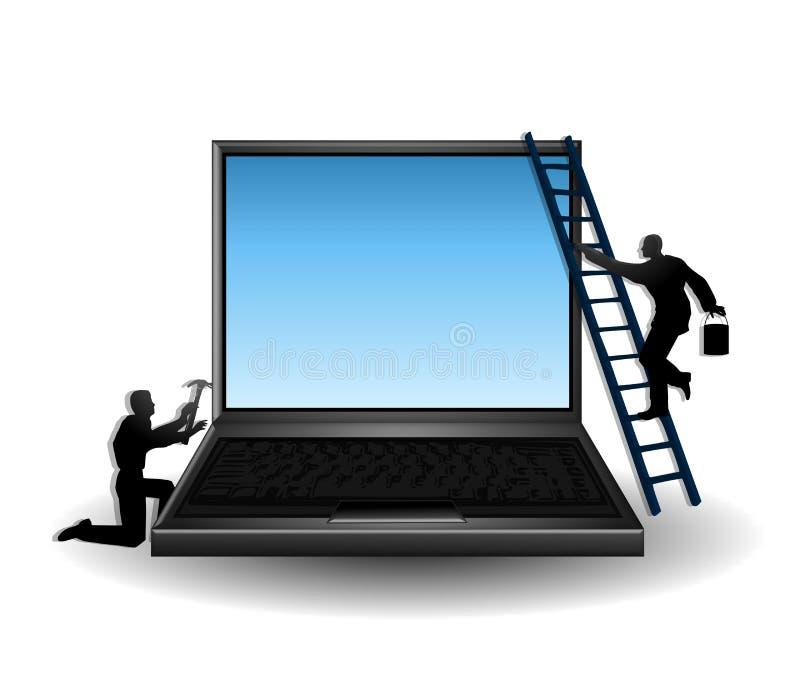 De Reparatie en het Onderhoud van de computer royalty-vrije illustratie